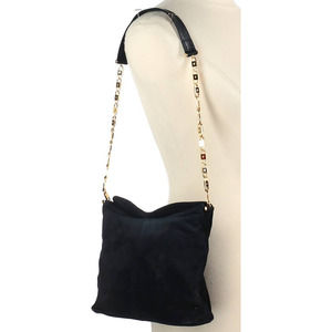 Paloma Picasso Chain Logo Purse Vintage Gold Navy